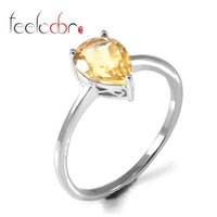 Cheap Top Quality Citrine Water Drop Rings For Women 925 Sterling-Silver-Jewelry Natural Stone Fashion Charm Holiday Gift New Arrival