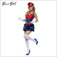 adult beard - Sexy School Girl Uniform Adult Costumes Strap dress hat gloves beard belt