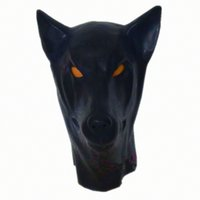 anatomical eye - New Anatomical Latex Dog Mask Black Wolf Rubber Fetish Latex Hoods Masks Mouth Eyes Condom Rubber customized catsuit costume