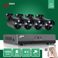 Bon Marché Matrice vidéo-Surveillance ANRAN 4CH HDMI 1800N AHD DVR 1800TVL 720P 3 Array IR Day Night Outdoor imperméable à l'eau Vidéo Système de vidéosurveillance CCTV