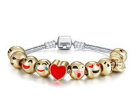 best gold bracelets - NEW Fashion Top Grade Emoji Charm Bracelet Dog Beads Gold Plated Men jewelry Bracelet for Women DIY Fit Bracelet Best Christmas Gift CC770