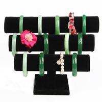Noir Bijoux Velvet Bracelet Collier montre angle de Display Stand T-bar Montre Holder 3 couche Livraison gratuite