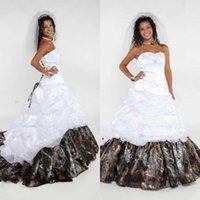 attractive pictures - Sweetheart Satin Camo A Line Wedding Dresses Attractive Ruffles Chapel Train Bridal Gowns Lace Up Ribbon Plus Size Wedding Dress