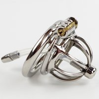 male chastity device insert - Anti off Spiked ring Stainless Steel Small Chastity Cage with Urethral Insert Male Chastity Device