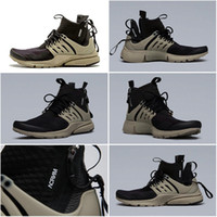 bamboo boots - Drop Shipping Cheap Famous Acronym Air Presto MID Black Bamboo Black Mens Running Shoes Athletic Sneakers Size