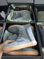 bag in box - 2016 Top Quality Kanye West Ankle Boots Light Grey Glow In The Dark Men Women Boost With Box the bag Receipt Drop Shipping Accepted