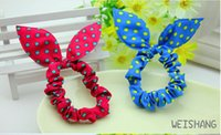 Wholesale 50pc Lovely Girls Headband Rabbit Ear Headbands for Girls Ladies Hair Accessories Blend Fabric Bow Knot Elastic Hair Band Christmas
