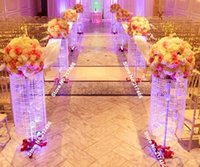 Wholesale no flowers including feet iridescent sq plexi wedding aisle decoration crystal pillars pedestals columns for floor stand