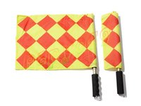 Wholesale 1pairs stainless steel Soccer Referee Flag with Bag Football Judge Sideline Sports Match soccer Linesman Flags Referee new