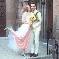 agyness deyn - Agyness Deyn Wedding Dresses Half Long Sleeve Wedding Gowns Illusion Poet Sleeve Tiered Tulle Bridal Gown Custom Made Bridal Dress