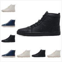 alligator boots women - 2016 New Arrived Top Brand Black Genuine Leather Men Luxury Fashion Snakeskin Women Red Bottom Unisex Dress Shoes Sneakers