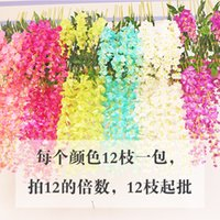 Wholesale Artificial Flowers Wisteria Color Plastic Flower Vine String Bean Curd Rattan for The Mall Home Decoration Artificial Flower Imita
