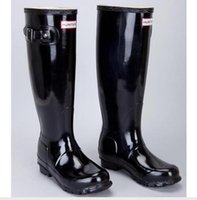 Wholesale New Design women Hunter boots Wellington RainBoots yellow Wellies tall Boots Ms glossy Welly Knee Boots Winter Warm US