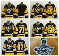 Wholesale Pittsburgh Penguins Crosby Hockey Jerseys With Stanley Cup Champion Patches Professional Ice Hockey Uniforms