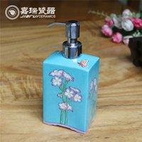 bathroom soap pump - Hot Selling Ceramic liquid soap dispenser hand painted soap pump dispenser bathroom soap dispensers