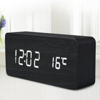 Wholesale Promotion Quality Digital LED Alarm Clock Sound Control Wooden Despertador Desktop Clock USB AAA Powered Temperature Display