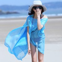 Wholesale The spring of super large single color chiffon scarf clothing sunscreen sunscreen seaside beach towel ride dual purpose shawl