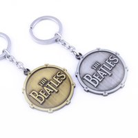 beatles coins - Fashion rock Band Beatles keychain key rings engraving word coin Pendants Key Chains for men women fans jewelry