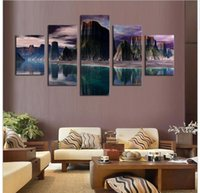 beautiful lake pictures - 5 Panels HD Beautiful Mountains and Green Lakes Canvas Oil For Living Room Wall Art Picture Artwork