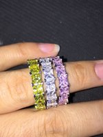 Wholesale Fashion jewelry New Brand Design K White Gold GF Swarovski Crystal Wedding Band Ring Sz Gift the whole row with color cz