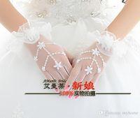 Wholesale Waist Length Bridal Gloves Fingerless Wedding Gloves Bowknot Beading Lace Bridal Gloves Rhinestone Bridal Hand Gloves