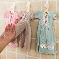 Wholesale princess skirt hand towel Originality water uptake Coral down Hanging children wipe hand terry