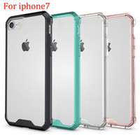 airs acrylic crystals - 360 protection Case For iphone Clear Crystal Soft TPU Case Acrylic PC Air Hybird Armor Bumper Frame For Apple iphone7 Back Cover