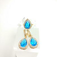 aqua box water - Water Drop New Sky Blue Jewelry Silver Jewelry Sets Fashion For Women Drop Earrings Rings Free Gife Box