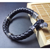 Wholesale Thomas Silver Leather Bracelet with Skull Crap Cross Design Length cm Rebel Heart Style Jewelry Gift for Men TS