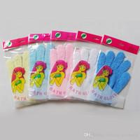 Wholesale Exfoliating Bath Glove Five Finger Bath Gloves Skin Body Bath Shower Loofah Sponge Mitt Scrub Massage Spa Bathroom Bathing Gloves