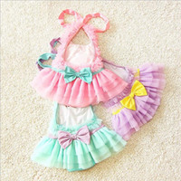 Wholesale Girls One Pieces Swimwear Girl Ruffle Bow Lace Swimsuits Kids Bathing Suits Korean Girls Princess Swim with Cap MK