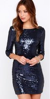 Wholesale 2016 Sequin colorful Sleeves Short Celebrity Dresses O Neck and Scoop Back with hidden back zipper detail Gowns