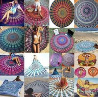 Wholesale 15 Styles Round Beach Towels Indian Round Mandala Tapestry Polyester Yoga Mat Wall art Hanging cm Shawls Beach Throw BKT081