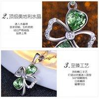 austrian crystal ornaments - Pendant Necklaces Austrian crystal Sterling Silver Ornaments Necklace Pendants Green Clover Crystal Inlay Zircon Pendants