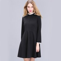 bell patch - Solid Black Woman Draped Chiffon OL Dress Autumn Femme Robe Vestidos Black White Patched