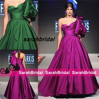 balloon prom dress - FOUAD SARKIS MNM Couture Grape Emerald Green Vintage Evening Dresses with Balloon Single Sleeve Long Pleats Ballroom Style Prom Gowns