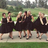 Wholesale 2016 Cheap Short Bridesmaid Dresses Honor Of Maid Formal Gown For Wedding Party Guest Black Satin Custom Made