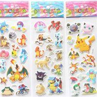 Wholesale Kids room Decor Decoration Wall Stickers Poke go Cartoon Animal Pikachu Charmander Charizard Eevee Snorlax PVC sticker Toys Christmas Gift