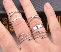 asian nail art - Vintage Circle Screws Joint Knuckle Nail Midi Ring Set Pieces Silver Gold Little Fingure Ring Beauty Art Gift