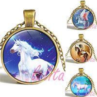 asian unicorn - Unicorn Necklace Unicorn horse Pendant necklace Fantasy Myth Designs Glass Cabochon Dome Jewelry christmas gift for children