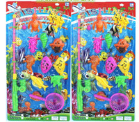 beach fishing rods - New Magnetic Fishing Toy Rod Model Fish water toys Kid Children Baby Bath Time Fun Game