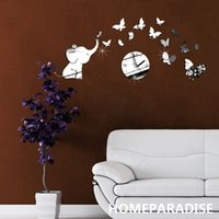 Wholesale Baby Elephant and Butterflies Art Mordern Luxury Design DIY D Crystal Mirror Wall Clock Wall Sticker Living Room Bedroom Decor