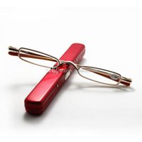 Wholesale Slim Small Mini Metal Reading Glasses Reader Spectacles E00371 Red FASH