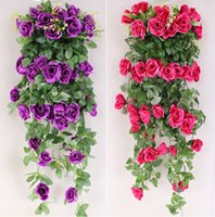 balcony hanging baskets - Simulation roses hanging flower vine wall hanging orchids flower basket living room balcony home decoration flowers in stock B3