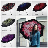 Wholesale Fedex DHL Free Trendy Women Windproof Anti UV Sun Rain Flower Princess Folding Umbrella Windproof Anti UV Sun Rain Folding Umbrella Z587