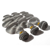 Wholesale Gray Hair Extensions Body Wave Peruvian Virgin Hair Peruvian Grey Hair Weave Remy Virgin Gray Hair