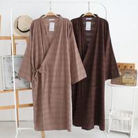 Wholesale Men sJapanese Style Tracksuit Kimono Robe Long Cotton Gauze Loose Fit Comfort Summer