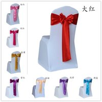Wholesale hot wedding chair sashes satin chair sashes covers for weddings chair sash chair decorations bowknot sash for party self tie