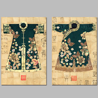 ancient chinese homes - 2pcs set Chinese Art ancient lady clothes decoration wall art pictures Canvas Painting for living room print home decor unframed