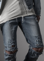 Wholesale mens clothing light blue destroyed distressed ripped skinny slp brand new men designer slim denim straight ripped zip jeans